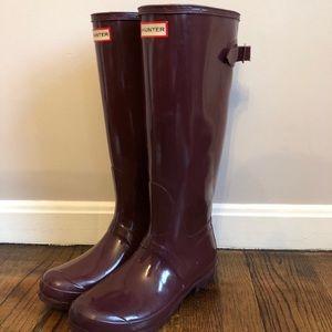 Hunter women's adjustable tall red rain boots